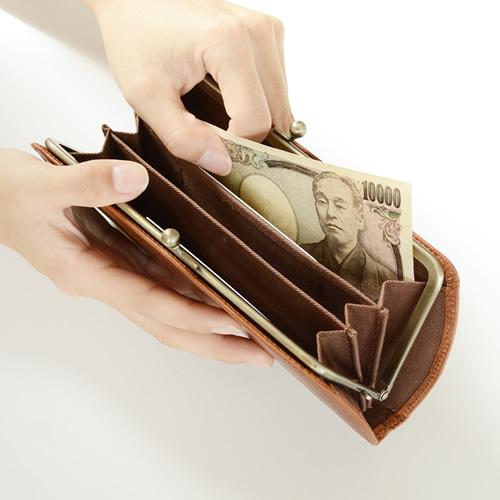 【財布 レディース 長財布 がま口 日本製 送料無料】『 Nippon de Handmade 』薄くてスマート、サイドのカーブでクラシカルなデザイン。こだわり姫路レザーを日本で職人さんがひとつひとつハンドメイドでお財布に、じっくり「革」を楽しんでいただける牛革長財布 革 本革
