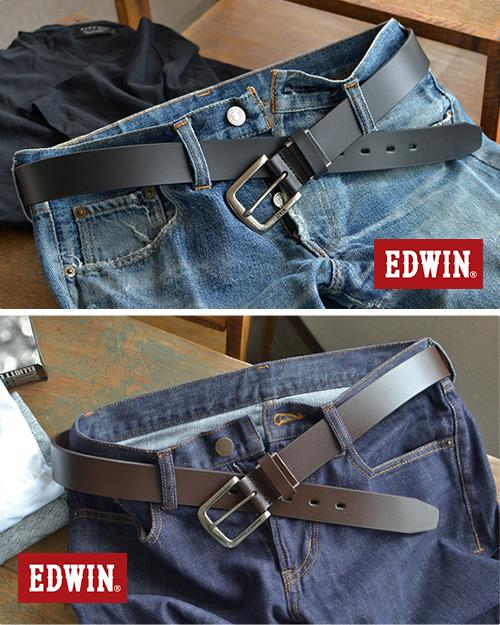 『EDWIN エドウィン』ベルト メンズ 大きいサイズ ロングサイズ 牛革 レザー しっかり幅 ハーネスバックル シンプル ベーシック 35mm 35ミリ 3.5cm 幅 レザーベルト カジュアルベルト レザー デニム ジーンズ チノパン に ブラック/ダークブラウン/ブラウン belt mens