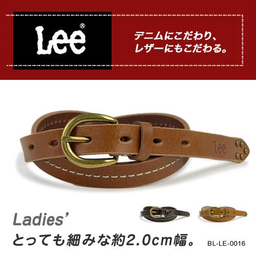 『Lee リー ベルト』しっかり牛革にステッチを入れた幅約2.0cmの細みのカジュアルベルト。アンティークゴールドのバックルと剣先のスタッズでアクセント。デニムに合わせたりワンピースに合わせたりレディースにおすすめです♪ベルト レディース 細 本革
