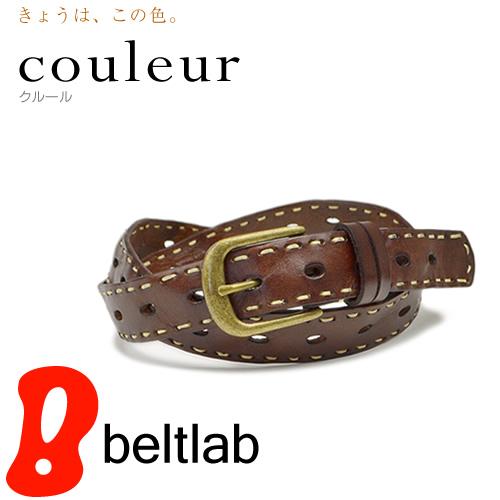 【本革 ベルト】『couleur -クルール-』ざっくりサイドステッチがアクセントの牛革カジュアルベルト レディース