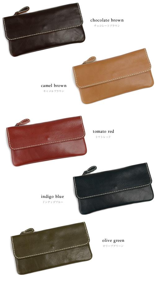 【送料無料 日本製 財布】『 Nippon de Handmade 』5つのきれい色にステッチがアクセント、こだわりオイルレザーのいい素材感、日本で職人さんがひとつひとつ手作り、じっくり「革」を楽しんでいただける長財布 革財布
