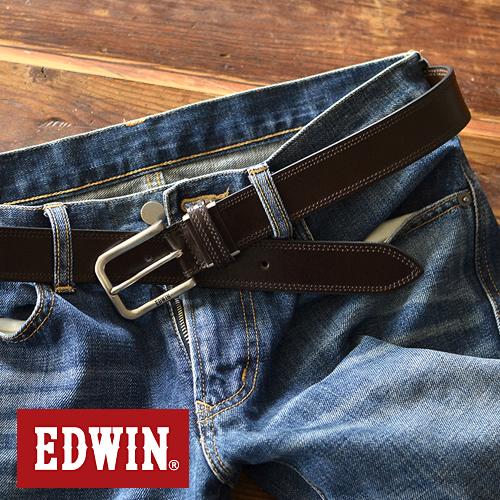 EDWIN エドウィン ベルト メンズ カジュアル 牛革 レザー 日本製 ハーネスバックル ステッチ デニム ジーンズ チノパン に 3.5cm幅