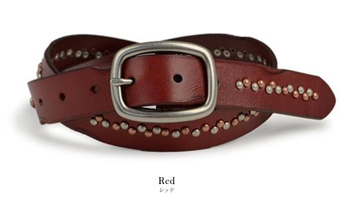 【スタッズベルト ベルト 本革】 Calm -Pollux- 細めな約3.0cm幅の牛革に小粒のスタッズをらせん状にデザイン。マットなギャリソンバックルを合わせました。お気に入りのジーンズに、メンズ、レディースのカジュアルに。