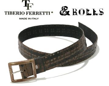 【 TIBERIO FERRETTI ティベリオ・フェッレッティ &ROLLS アンドロールス ベルト】スタッズを4列にたくさんデザインしたレザーベルト、上質なイタリア牛革をイタリアの工場にて丁寧にハンドメイド