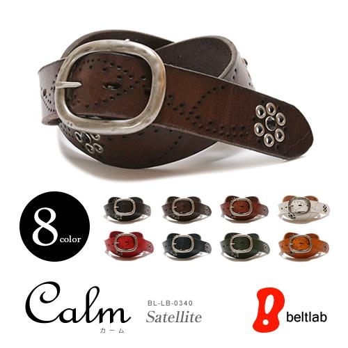 ベルト専門店 スタッズベルト【ベルト】『Calm -Satellite-』楽しい8色が大人気の本革ベルト、ながれるパンチングにブラックストーンがかがやく、メンズ、レディースにギャリソンバックルのレザーベルト MEN'S LADY'S 男性用 レデイース 紳士用 ladies Belt