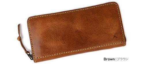 【アインソフ Ain Soph ロングウォレット】牛革に染み込ませたパラフィンで、独特のマット感とツヤ感に。シックなカラーに、太番手のステッチがアクセント。コの字ファスナーで開く、使いやすい長財布です。「DA993-HWM」