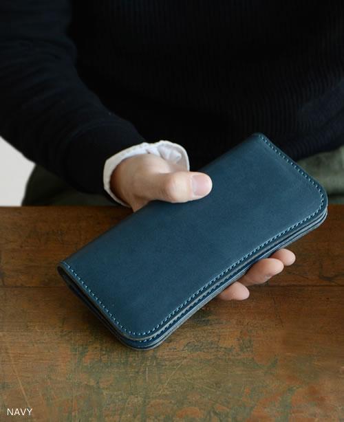 【財布 日本製 栃木レザー 送料無料】『pot -ポット-』ゆるやかなカーブが手にフィットする二つ折りの長財布、ぬくもり感じるハンドメイド、メンズ、レディースに、ナチュラルな牛革の手触りが心地いい長財布 バイカーズウォレット 革財布 財布