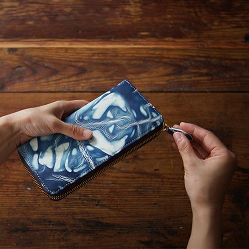 【アインソフ Ain Soph 財布】 レディース 財布 メンズ 長財布 本革 大容量 革財布 藍染 「DA1180 - BLA」
