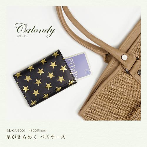 【パスケース 小銭入れ 送料無料 レディース】『calondy -カロンディ-』素材感のいい牛革に、星がきらめいたたり、星がたたずんだり、カードも小銭もしっかり収納できるパスケース 小銭入れ