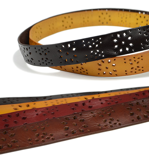 【本革 ベルト】『couleur -クルール-』ダイヤの花咲くパンチング、ナチュラルな素材感の、レディースカジュアルベルト