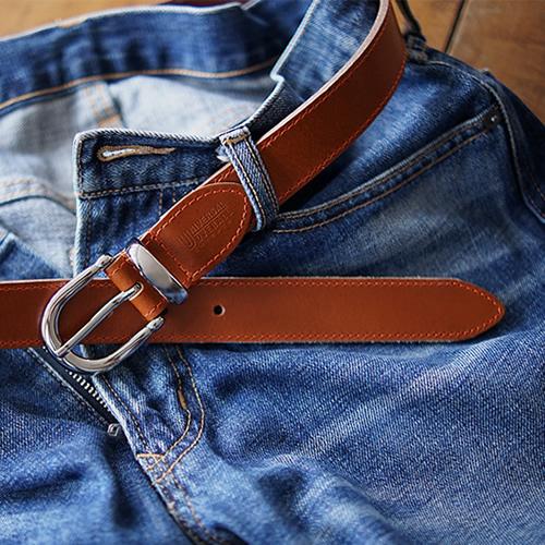 ベルト メンズ カジュアル UNIVERSAL OVERALL ユニバーサルオーバーオール 本革 牛革 しっかり一枚革 デニム ブランドカラー オレンジステッチ 幅3cm