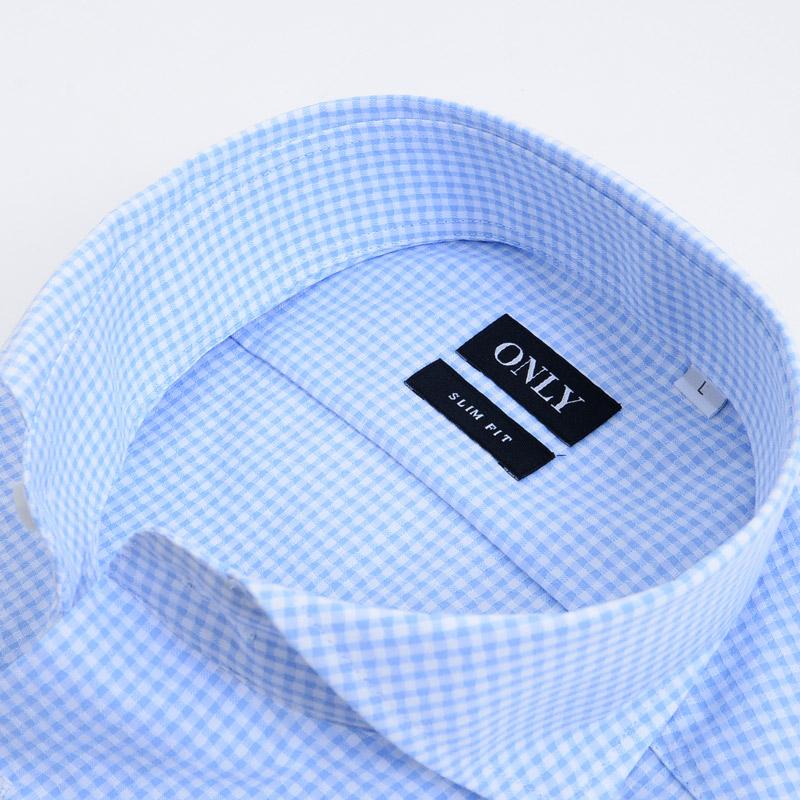 ≪よりどり3枚 3,900円≫カッタウェイカラー/サックスチェック/形態安定・半袖シャツ