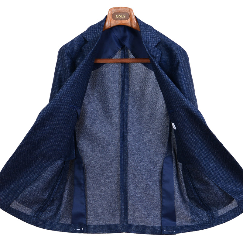 ≪WEB価格≫超軽量/マイクロチェック柄/ブルージャケット
