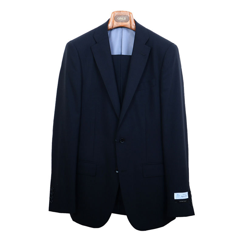 ≪WEB特価≫伸縮性/ブラック柄無地スーツ