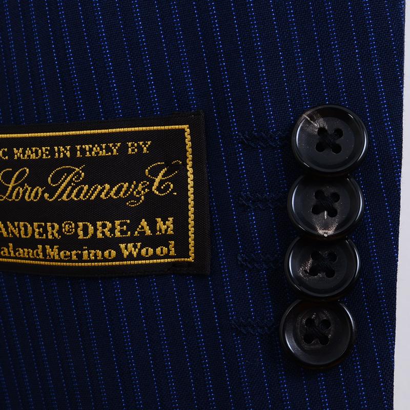 ≪特典対象≫Loropiana(ロロピアーナ)ウール100%/ブルーツイストストライプ 最高級スーツ