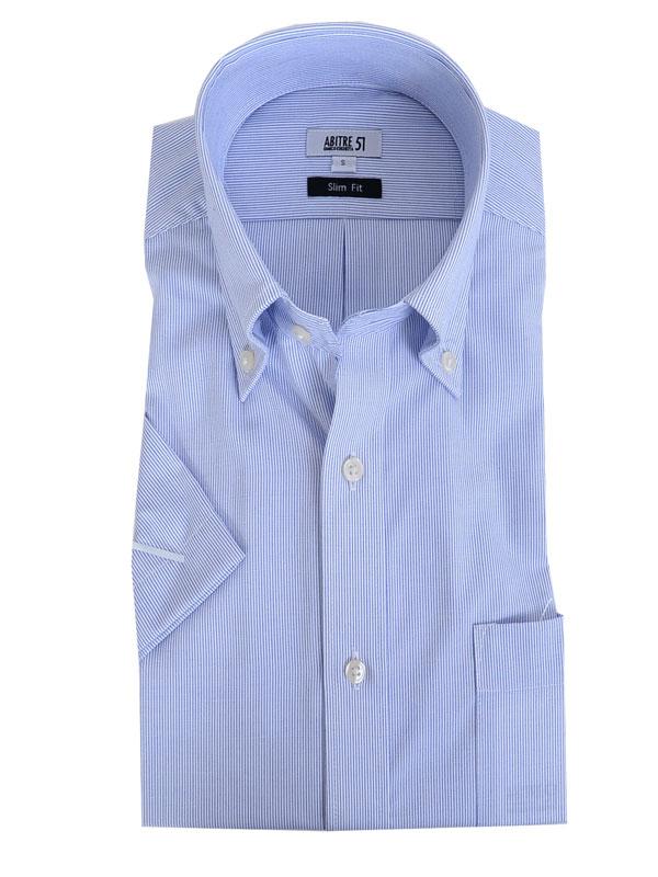 ≪よりどり3枚 3,900円≫ボタンダウン/ブルーストライプ/形態安定・半袖シャツ