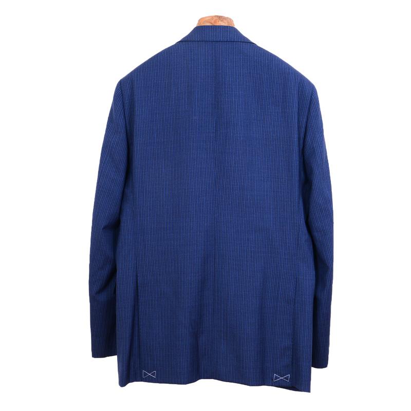 ≪WEB限定≫Loropiana(ロロピアーナ)ウール100%/ライトブルーツイストストライプ 最高級スーツ