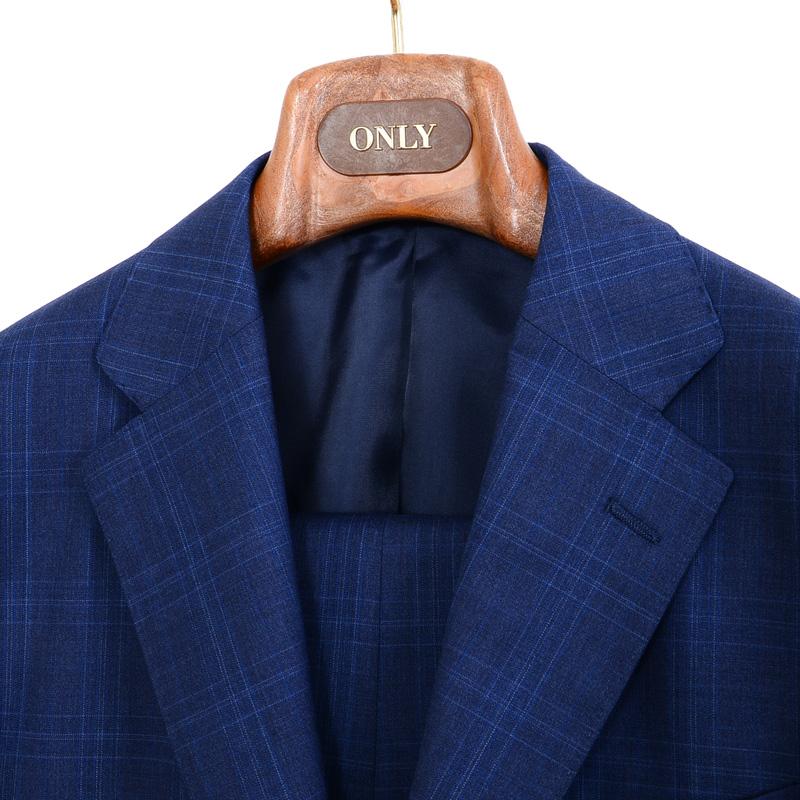 ≪WEB限定≫Loropiana(ロロピアーナ)ウール100%/ブルーチェック 最高級スーツ