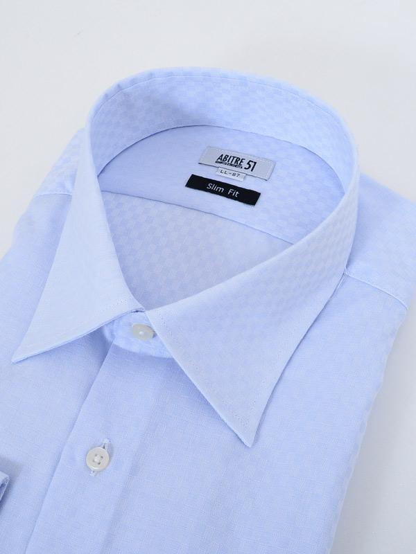 ≪よりどり3枚 3,900円≫形態安定/セミワイドカラー/サックス柄無地シャツ