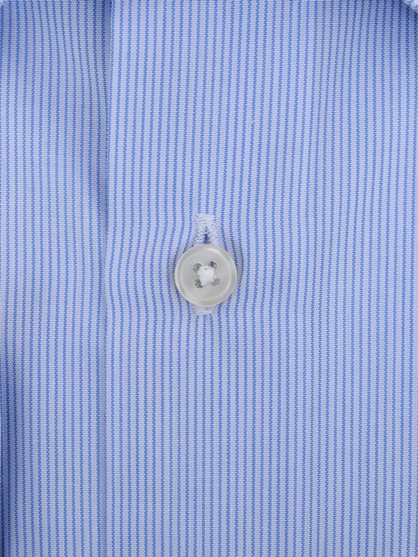 ≪よりどり3枚 3,900円≫形態安定/セミワイドカラー/サックスストライプシャツ
