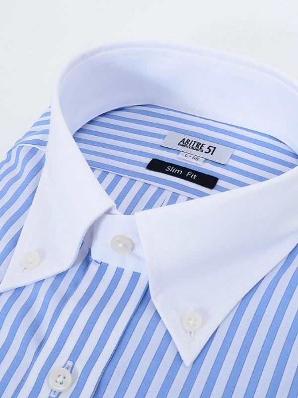≪よりどり3枚 3,900円≫形態安定/ボタンダウンクレリックカラー/ブルーストライプシャツ