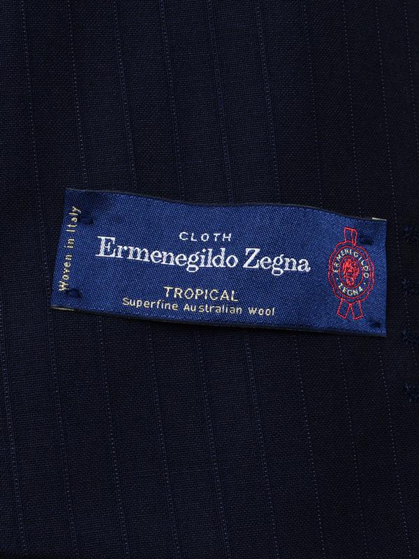 ≪WEB限定≫Zegna(ゼニア)極トロピカル/Superfine wool/クラシカル風ネイビーストライプスーツ