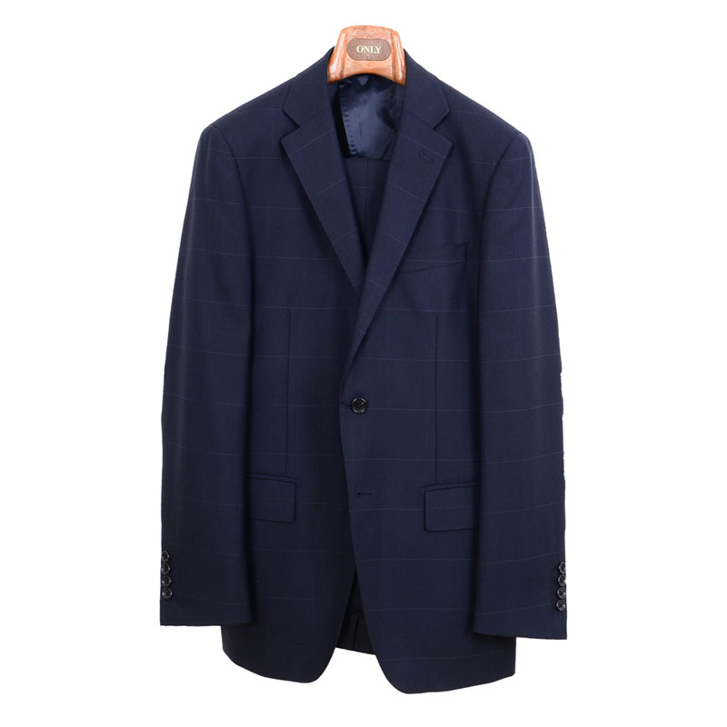 ≪よりどり2着18,000円≫軽量サマースーツ/ネイビーチェックスーツ