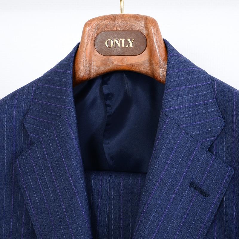 ≪WEB限定≫Loropiana(ロロピアーナ)ウール100%/ライトブルーストライプ 最高級スーツ