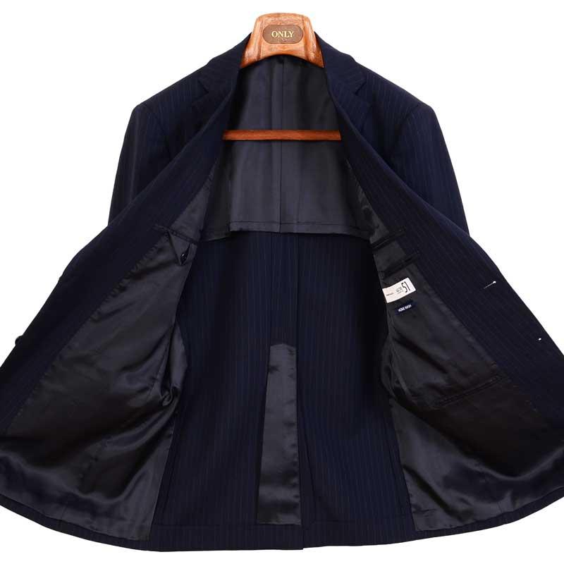 ≪よりどり2着18,000円≫爽快・軽量・洗えるネイビーストライプスーツ