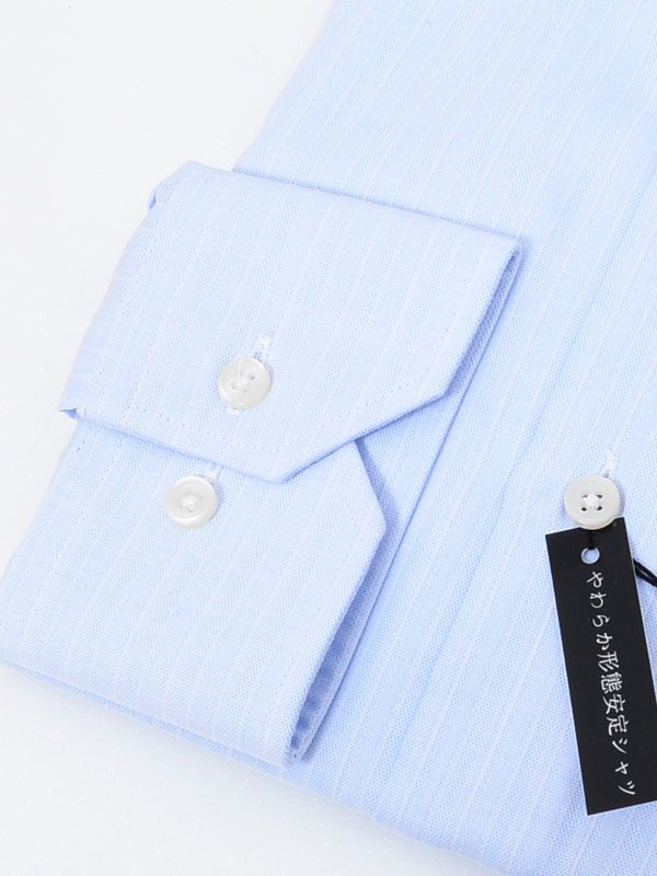 ≪よりどり3枚 3,900円≫やわらか形態安定/サックスストライプシャツ
