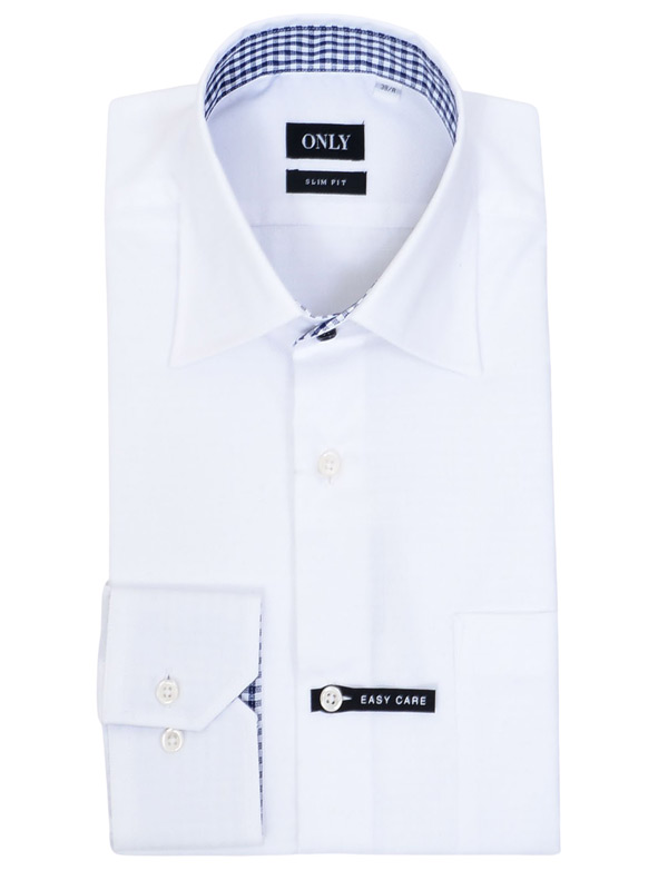 ≪よりどり5枚 5,000円≫形態安定/セミワイドカラー/裏地チェック/ホワイトシャツ