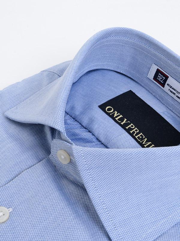 ≪よりどり2枚4,800円≫ 最上質コットン/BEZ社/ワイドカラー/ブルー柄無地シャツ