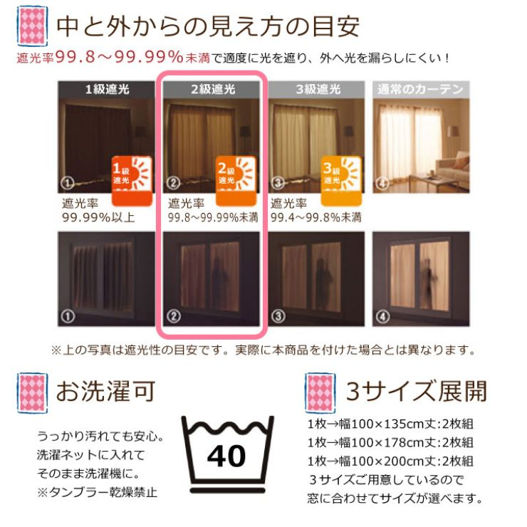 アリス 【2級遮光・遮熱】  カーテン 2枚組  [SB-523-D]