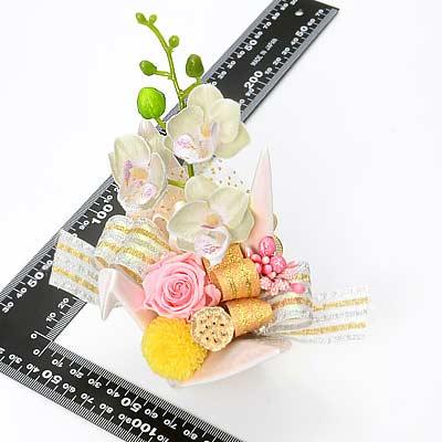 花器アレンジ 折り鶴