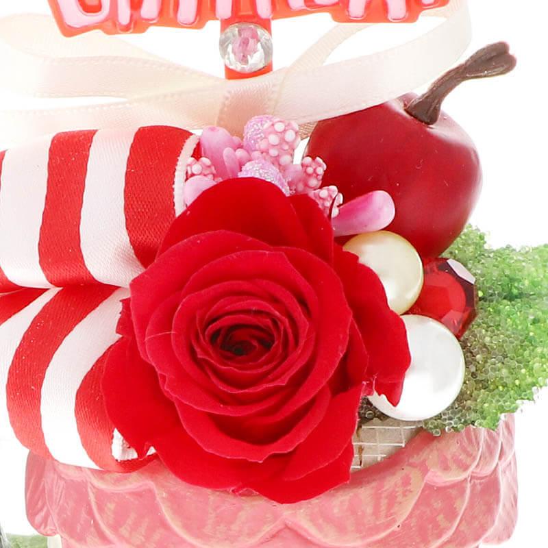 花器アレンジ HappyBirthday  バースデー(アニマル花器) ねこ レッド