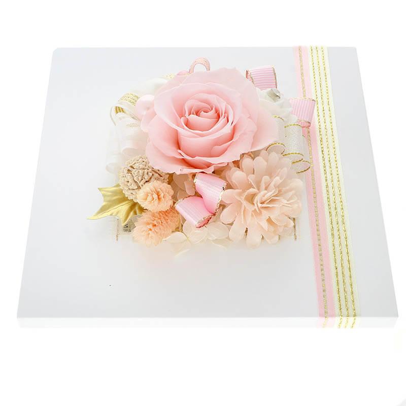 お祝い プリザーブドフラワー フレーム ホワイト×ピンク 「エレガント」