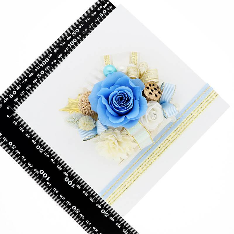 お祝い プリザーブドフラワー フレーム ホワイト×ブルー 「エレガント」