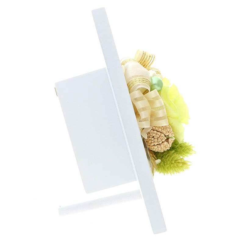 お祝い プリザーブドフラワー フレーム ホワイト×グリーン 「エレガント」