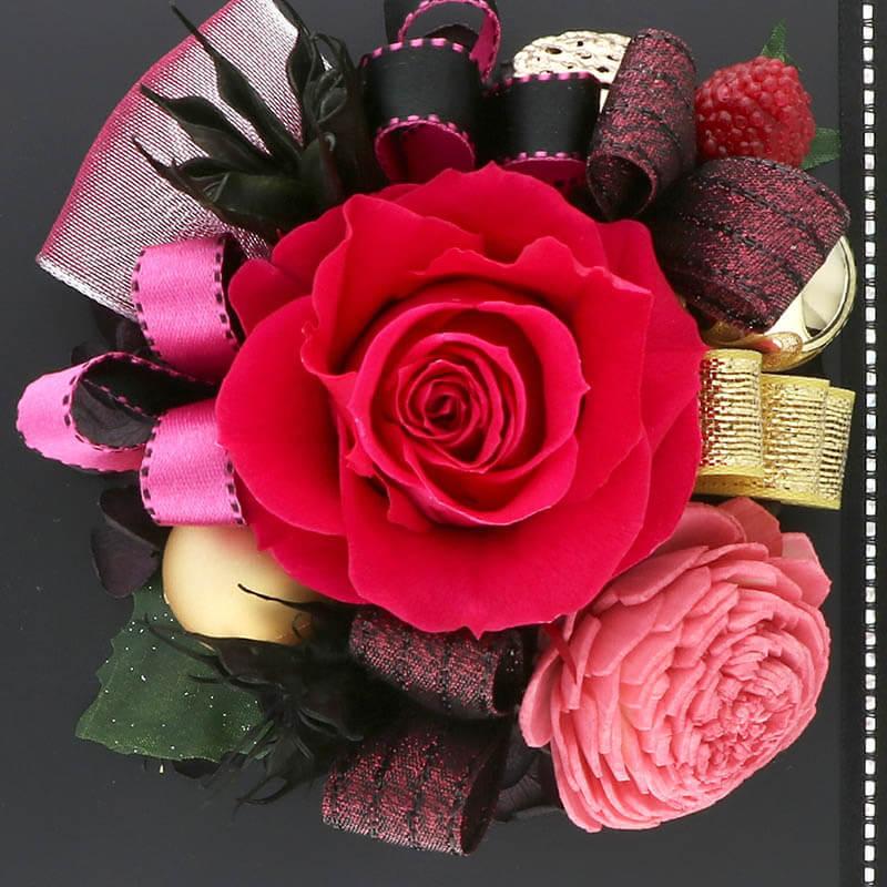 お祝い プリザーブドフラワー フレーム ブラック×ピンク 「エレガント」