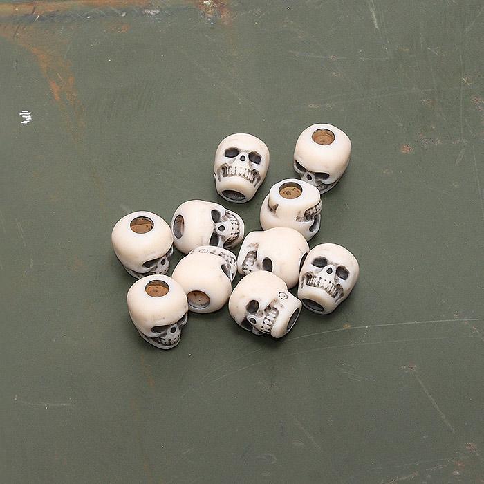 US スカルビーズ【Skull Beads】ミリタリー プラスチック ドクロ 髑髏 頭蓋骨ビーズ ビーズクラフト アメリカ製