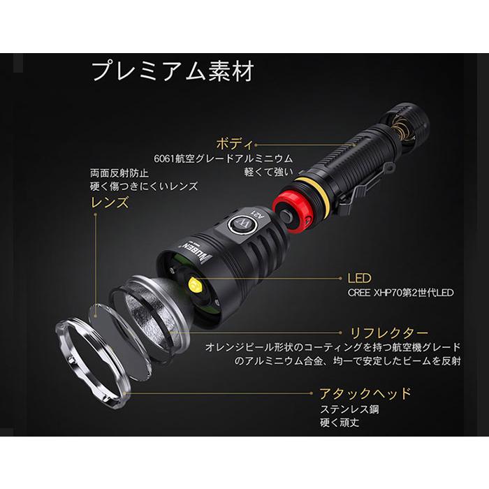 WUBEN A20 フラッシュライト<br>【ウーベン flash light】マウンテンリーコン アウトドア キャンプ 充電池セット 最大4200ルーメン