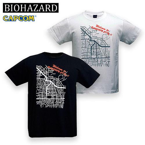 BIOHAZARD RACCOON CITY Tシャツ<br>【バイオハザード resident evil CAPCOM カプコン ゲーム】メンズ 半袖 ラクーンシティ 地図 アンブレラ
