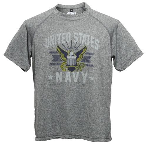 US NAVY パフォーマンス Tシャツ<br>メンズ ミリタリー カジュアル アウトドア USN 米海軍 プリントTシャツ ポリエステル