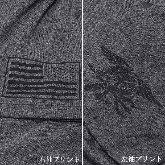 PHANTOM×UA フラッグ & トライデント Tシャツ<br>【ファントム オリジナル Under Armour アンダーアーマー Flag and Trident】メンズ ミリタリー カジュアル アウトドア 米海軍 特殊部隊 NAVY SEAL ネイビー シールズ