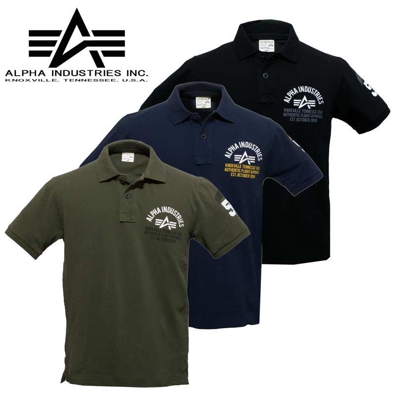 アルファ TC1147 バックプリント ポロ<br>【ALPHA  POLO】カジュアル ミリタリー アウトドア 半袖 襟付き