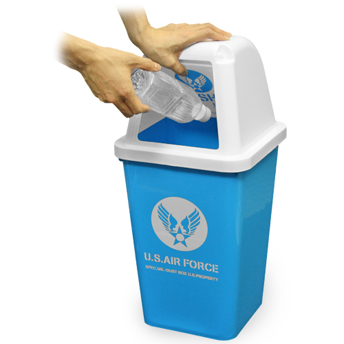 U.S.AIR FORCE ダストBOX<br>【U.S.エアフォース dustボックス】ミリタリー インテリア USAF USAAF ゴミ箱 ウイングマーク