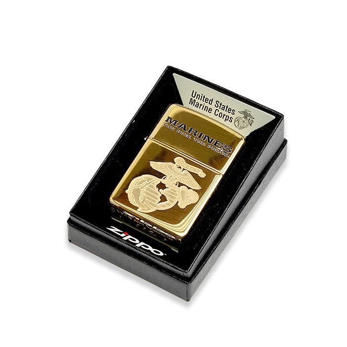 ZIPPO USMCロゴ アーマー ブラス【ジッポ Marines Logo 真鍮】ミリタリー 米海兵隊 喫煙具 オイルライター Lighter