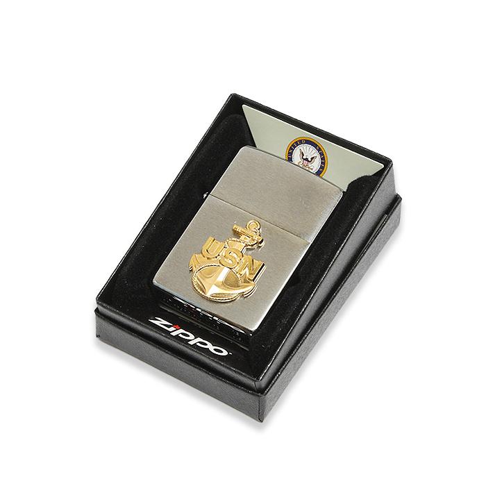 ZIPPO US NAVYアンカーエンブレム<br>【ジッポ ネイビー Anchor Emblem】ミリタリー アメリカ海軍 喫煙具 オイルライター Lighter