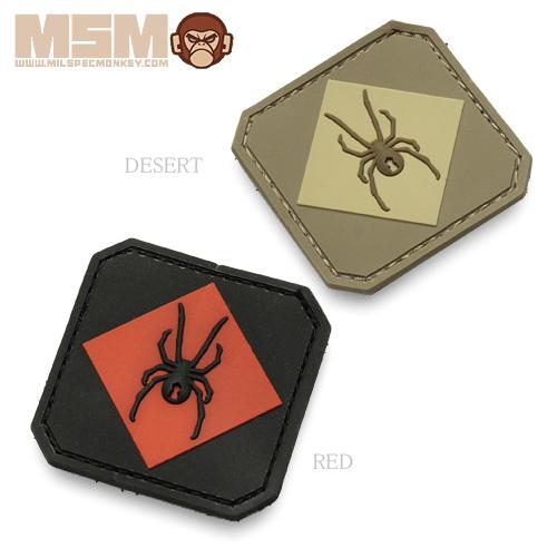 MSM レッドブラック ワンPVCパッチ<br>【MIL-SPEC MONKEY ミルスペック・モンキー】メンズ ミリタリー サバイバルゲーム ワッペン ベルクロ付き
