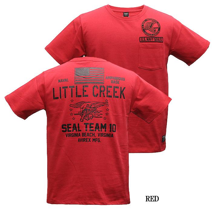 AVIREX 6193342 Little Creek ポケットTシャツ<br>【アヴィレックス リトル クリーク Pocket T-Shirt SEAL TEAM 10】メンズ ミリタリー カジュアル